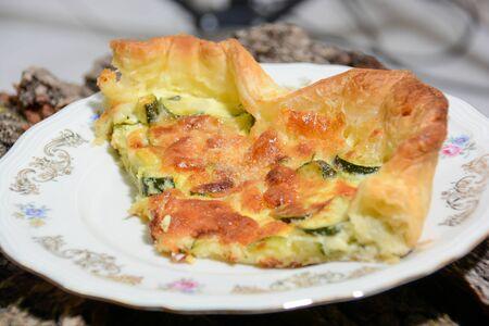 homemade Italian food: savory shortcrust pie, vegetables and mozzarella Stok Fotoğraf