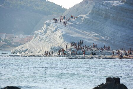 view of the Scala dei Turchi in Sicily at sunset when erosion is most visible