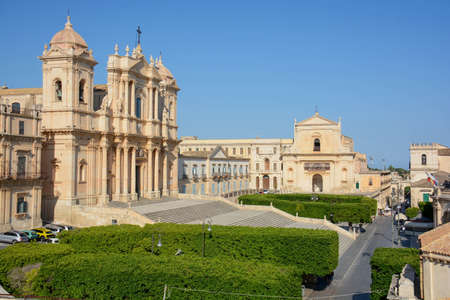 cathedral of Noto, Sicily - Italy, unique view from the top of the front bell tower