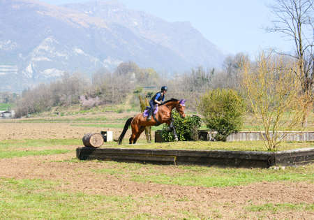 Italian horsewoman in country riding shows trim and balance rider and horse