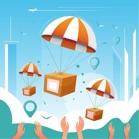 Boxes in parachute over outstretched arms. Fast online delivery from phone. Flat cartoon vector color illustration for web. Concept for delivery package.