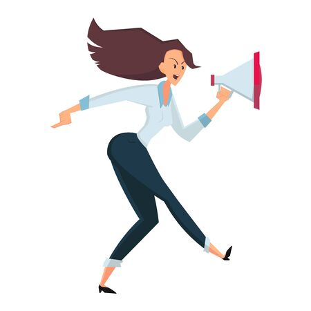 Angry businesswoman goes and screams into the loudspeaker. Side view. Color flat vector cartoon illustration isolated on white