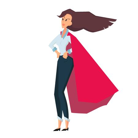 Angry standing businesswoman in red coat. Side view. Color flat vector cartoon illustration isolated on white