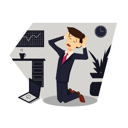 Businessman kneeling. Color vector cartoon illustration