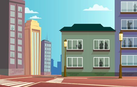 Empty street without any people and car. Silhouettes of man and woman in the windows of buildings. Color vector cartoon flat illustration. For poster quarantine coronavirus epidemic.