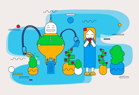 Woman sniffing a flower. Robot watering and cutting plant. Front view. Color vector cartoon flat illustration. Concept - people relax, robots work Ilustração