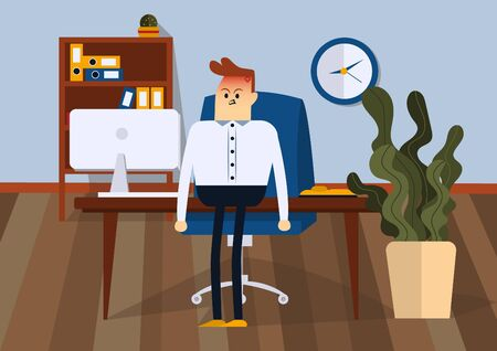 Angry businessman standing in office. Front view. Color vector flat illustration