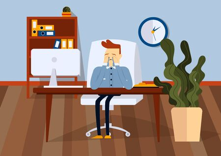 Upset businessman sitting on office chair at a computer desk. He is he cries and wipes his tears with his hands. Front view. Color vector cartoon illustration
