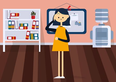 Businesswoman standing in office and holding his head. Front view. Colorful cartoon vector illustration. Concept of time management Иллюстрация