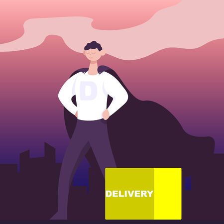 Super delivery man with package over the night city. Flat cartoon vector color illustration for web.  イラスト・ベクター素材