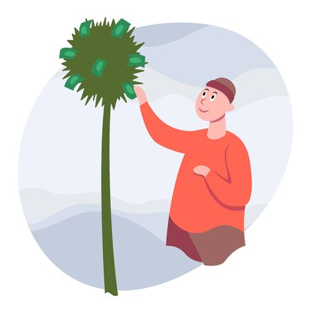 Man collects dollar banknotes from a palm tree. Side view. Color vector flat cartoon illustration. Concepts for investment business