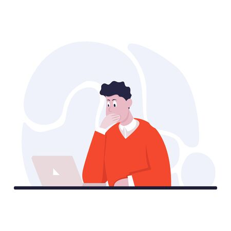 Businessman sitting at office desk. He is looking at the laptop and covers his mouth hand. The man is surprised. Side view. Color vector cartoon illustration Vectores
