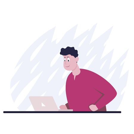 Businessman sitting at office desk. He is looking at the laptop and smiling. The man happy. Side view. Color vector cartoon illustration Vettoriali
