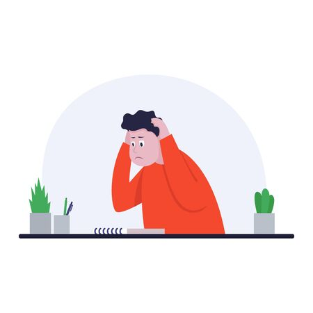 Businessman sitting at office desk. He holds hands behind head. The man is pained. Side view. Color vector cartoon illustration