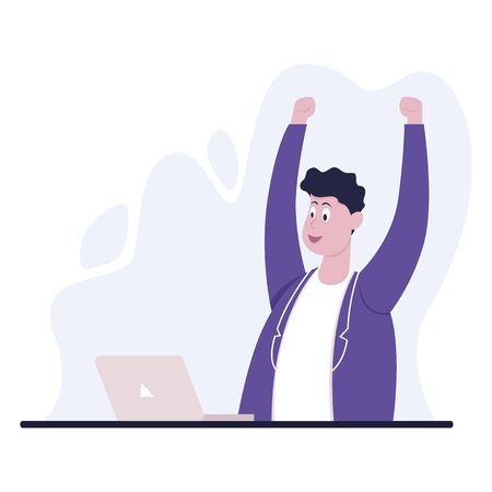 Businessman sitting at office desk. He is looking at the laptop and raised his hands in victory. The man is joyful. Color vector cartoon illustration Vecteurs
