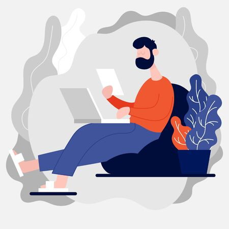Freelance developer looking at the laptop and paper document. Color flat vector cartoon illustration. For online communication and virtual work meeting. Stay home. Stock Illustratie