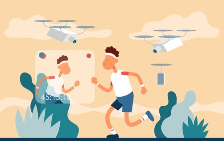 Guy removes the process of doing sports on the street. Color vector flat cartoon icon. Concept for sport blogger. Vettoriali