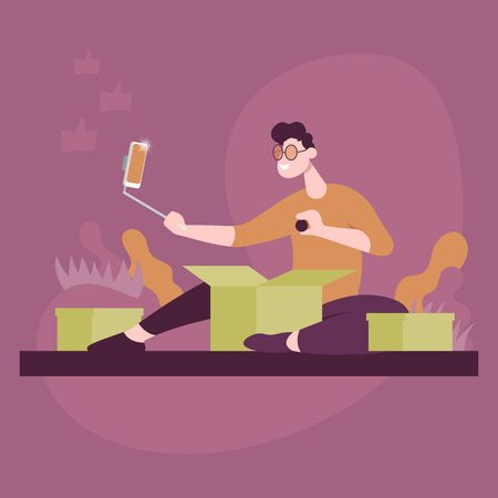Guy unpacks packages and shoots video on phone. Color vector flat cartoon icon. Concept for blogger. Ilustração