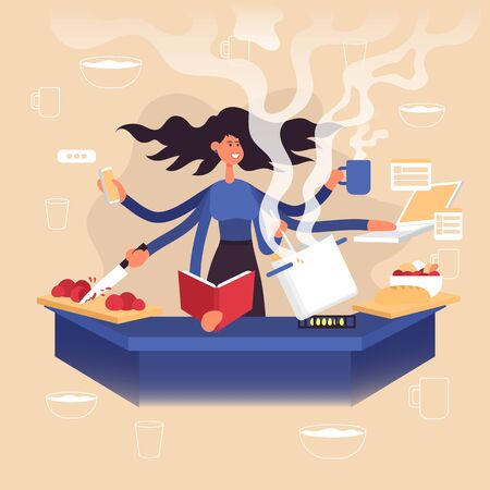 Woman freelancer does several things at once time. She manages to cook, drink coffee, talk on the phone, read a book and work on a laptop. Color vector cartoon illustration. Stay home.