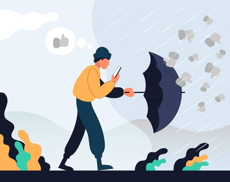 Guy goes with the phone in his hands and hides behind an umbrella from dislikes. Color vector flat cartoon icon. Concept for blogger.