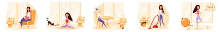 Woman quarantined at home. She reads a book, practices yoga, does beauty treatments, cleans. Color vector cartoon illustration. Stay home.