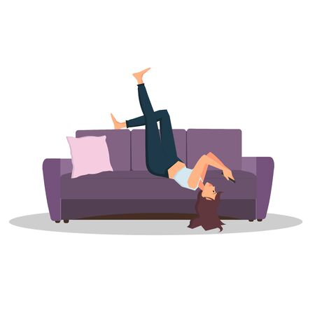 Woman lies on the couch and looking on smartphone. Color vector cartoon flat illustration. Color vector cartoon flat illustration. Concept for coronavirus epidemic quarantine. Ilustración de vector