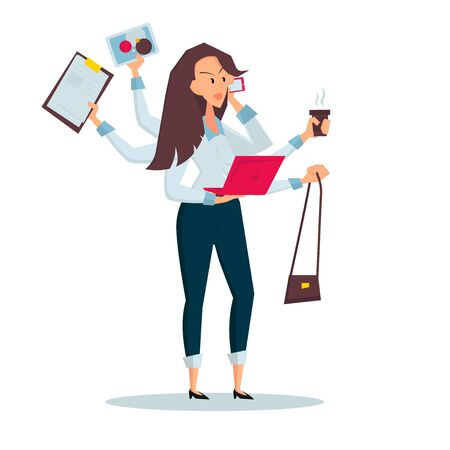 Woman freelancer does several things at once time. She manages to hold bag, drink coffee, talk on the phone, read documents and work on a laptop. Color vector flat cartoon icon. Isolated on white.