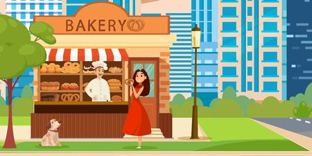 Happy female customer choosing and buying bun in bakery. Color illustration.