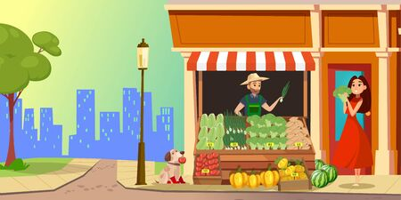 Happy female customer choosing and buying vegetables in farmers shop. Color illustration. Ilustracja