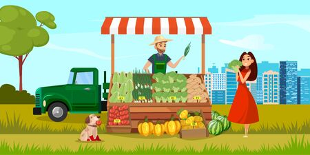 Happy female customer choosing and buying vegetables in farmers shop. Color illustration. Illustration