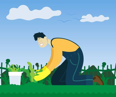 Farmer plants a growing in the garden. Color illustration.