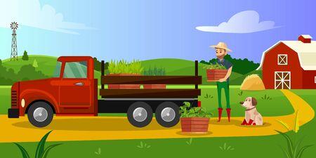 Farmer loads plant boxes in a truck. Color illustration. Illustration