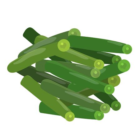 Stalks green beans. Vector flat color icon.