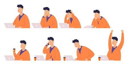 Set of poses businessman with different emotions and expressions. Color vector illustration
