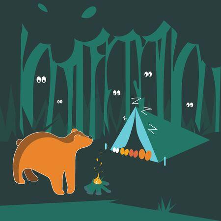 Family night piknic in forest. Cartoon vector illustration Illustration