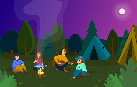 Night picnic in forest. Cartoon vector illustration
