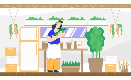 Farmer with plants in hands think how to take care of him. Color illustration.  イラスト・ベクター素材