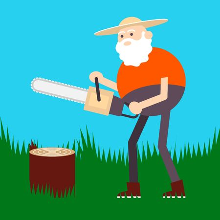 Old farmer sawing firewood. Color vector flat cartoon icon isolated on green Ilustração