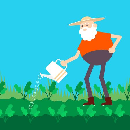 Old farmer watering garden with can. Color vector flat cartoon icon Ilustração