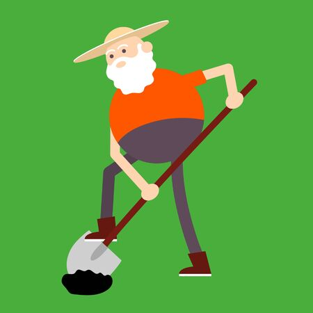 Old farmer digs a shovel ground. Color vector flat cartoon icon isolated on green