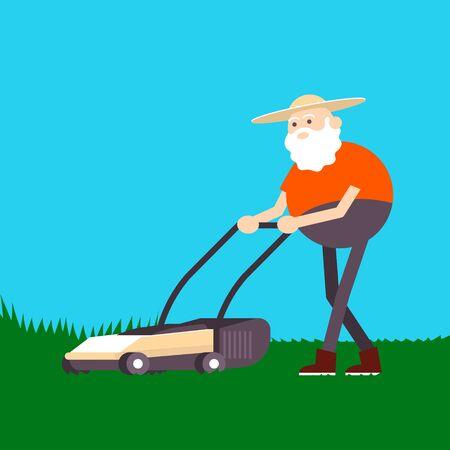 Old farmer mowing grass lawn mower. Color vector flat cartoon icon Ilustração