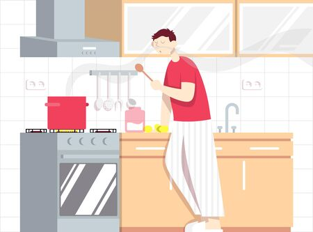Man cooks soup. Cooking process in kitchen interior. Illustration
