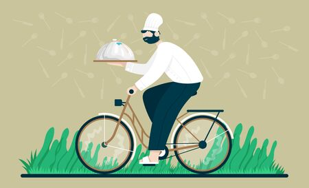 Chef with a tray rides a bicycle to deliver takes out food and drink in home. Flat cartoon vector color illustration for web.