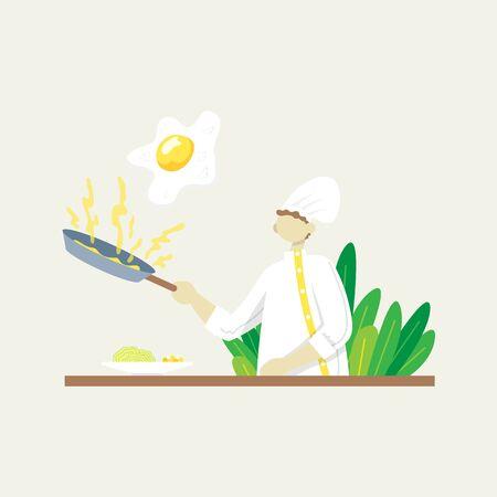 Chef fries scrambled eggs. Color vector flat cartoon icon