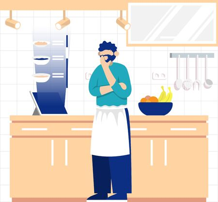 Cooking process with chef figures at the table in restaurant kitchen interior. Illustration