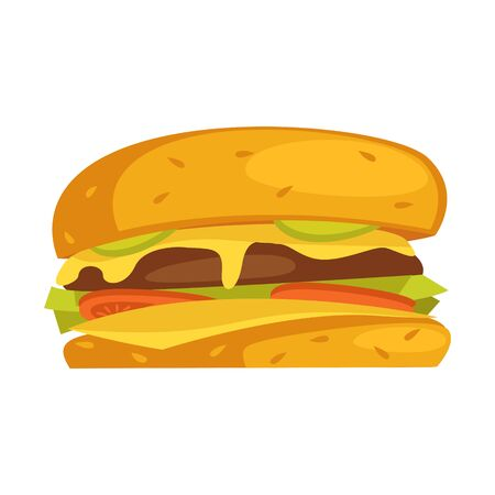 Burger include cutlet, tomato, cheese and salad. Vector flat color icon on white