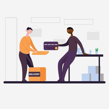 The courier brought the package and man pays with a card. Flat cartoon vector color icon.  イラスト・ベクター素材