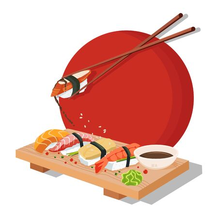 Set Sushi. Chopsticks, wasabi, soy sauce, nigiri, rolls and wood serving board. Color vector flat cartoon illustration isolated on red sun. For icon and menu. Çizim