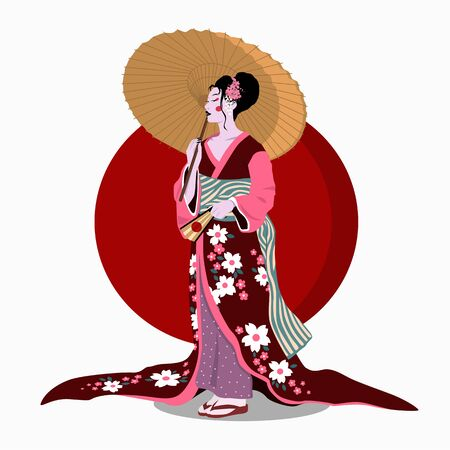 Woman in kimono with umbrella. Color vector flat cartoon illustration isolated on red sun.