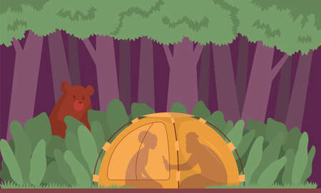 Couple night piknic in forest. Bear crawls into the tent. Color cartoon flat vector illustration. Lifestyle concept outdoor activity Illustration